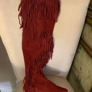 Over the knee Sam Edelman suede fringe flat boots